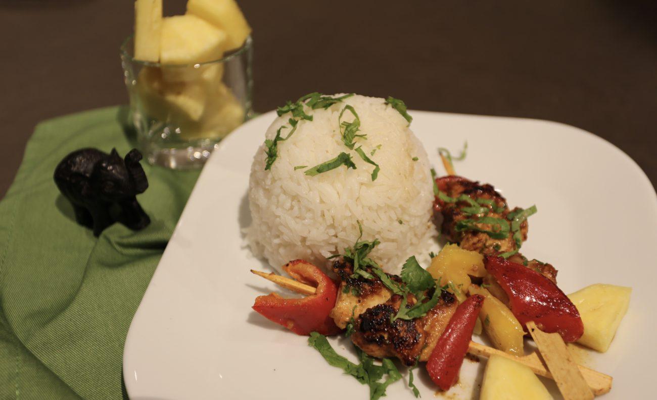 Hühnchenspiesse mit Reis